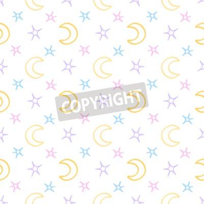 Fotomural Estrelas macias sem emenda e fundo da noite do bebê da lua. Doce padrão de sonhos