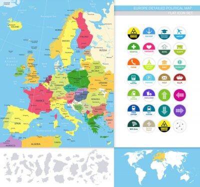 Fotomural Europa detalhada map.Flat política ícone conjunto