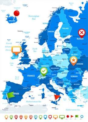 Fotomural Europa - mapa de navegação e os ícones - illustration.Image contém próximos camadas: os contornos terrestres, nomes de países e terrestres, nomes da cidade, nomes de objetos de água, ícones de navegaç