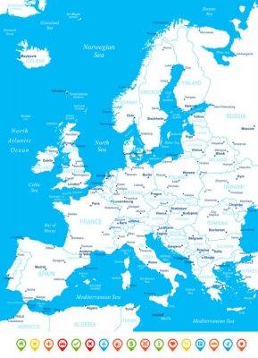 Fotomural Europa - mapa, ícones de navegação - illustration.Image contém próximos camadas: os contornos terrestres, nomes de países e terrestres, nomes da cidade, nomes de objetos de água, ícones de navegação.
