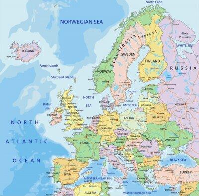 Fotomural Europa - mapa político editável altamente detalhado.
