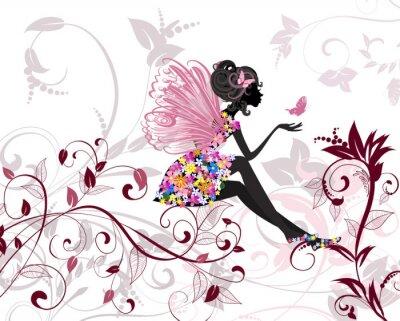 Fotomural Fada das flores com borboletas