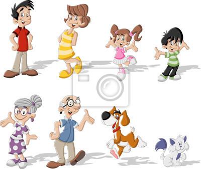 Familia Feliz Colorido Bonito Dos Desenhos Animados Com Animais