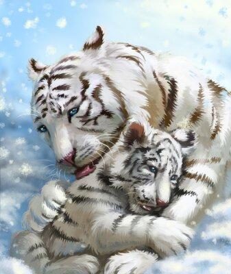 Fotomural Família tigre