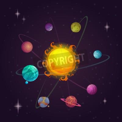 Fotomural Fantasia, solar, sistema, alienígena, planetas, estrela, vetorial ...
