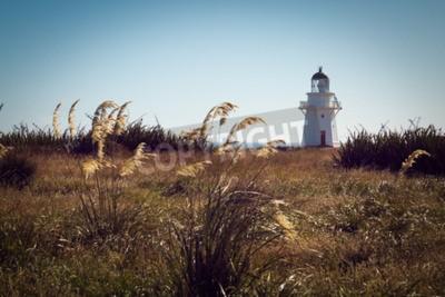 Fotomural Farol histórico em Waipapa Point, Catlins, Nova Zelândia. Filtro Vintage