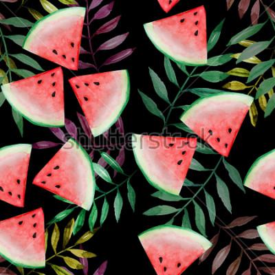 Fotomural Fatia da melancia com teste padrão sem emenda da folha tropical no fundo preto, pintura da aquarela, projeto para o conceito feliz das férias de verão.