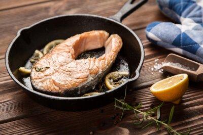 Fotomural Fatia de salmão frito
