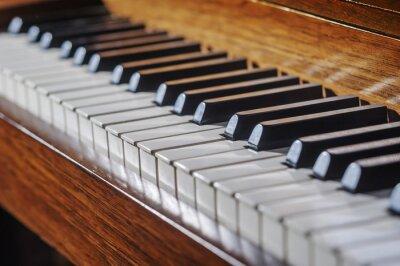 Fotomural Feche acima do teclado de piano com profundidade de campo limitada