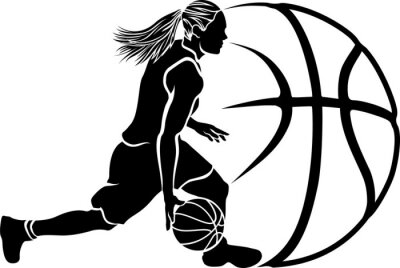 Fotomural Female Basketball Dribble Sihouette with Ball