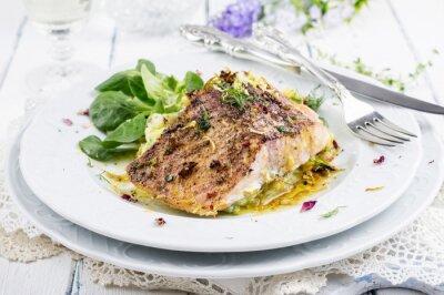 Fotomural Filé de peixe com purê de batatas