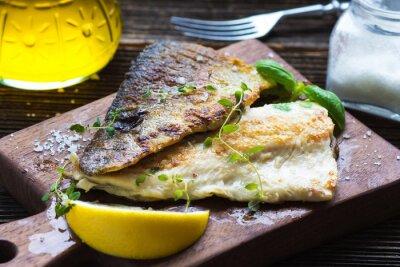 Fotomural Filet de peixe com azeite e limão