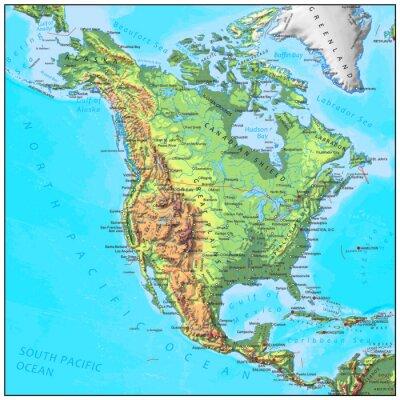 Fotomural Física América do Norte mapa continente