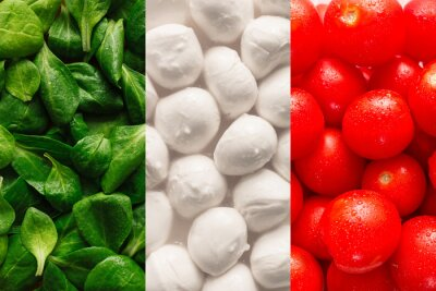 Fotomural Flag of Italy made of basel leaves, mozzarella cheese, and cherr