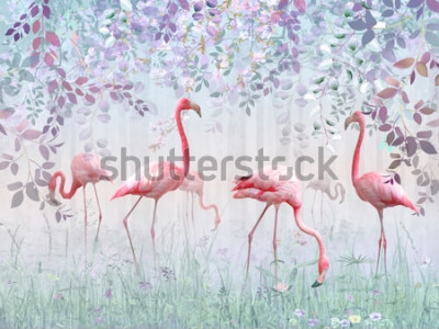 Fotomural Flamingos cor de rosa em um jardim delicado em uma névoa turquesa. Mural e papéis de parede para impressão de interiores.