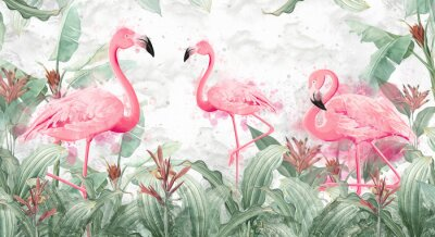 Fotomural flamingos in tropical streams with textured background, photo wallpaper