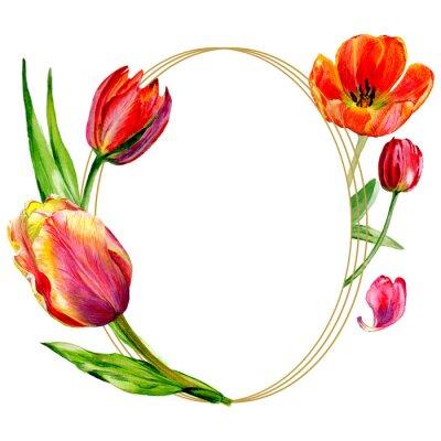 Fotomural Flor vermelha surpreendente da tulipa com folha verde. Conjunto de ilustração de fundo aquarela.