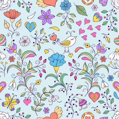 Fotomural Floral, fundo, pássaro, flores