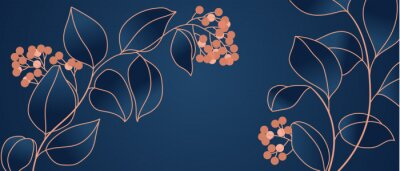 Fotomural Floral seamless navy blue and copper metallic plant background vector for house deco