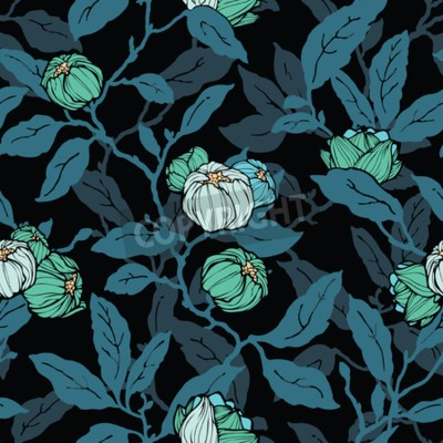 Fotomural Floral seamless pattern. Abstract ornamental flowers. Flourish leaves background