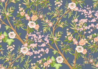 Fotomural Floral seamless pattern in chinoiserie style. Vector illustration.