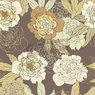 Fotomural Floral seamless pattern with peony.