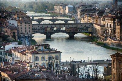 Fotomural Florença Ponte Vecchio vista do pôr-do-sol