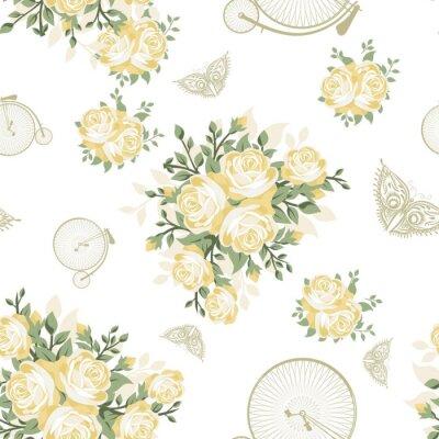 Fotomural Flores amarelas, borboletas e bicicletas modelo sem emenda