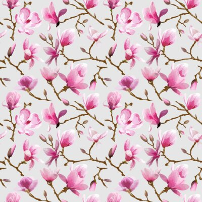 Fotomural Flores da magnólia do fundo - Vintage Seamless Pattern