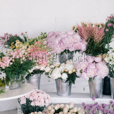 Fotomural Flores em vasos e baldes. Floricultura.