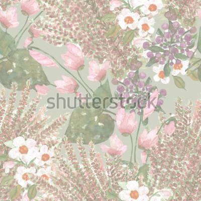 Fotomural Flores sem costura padrão