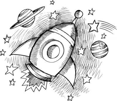 Fotomural Fofo Esboço de Rocket Espaço