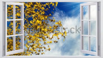 Fotomural Folhas de outono amarelas no céu