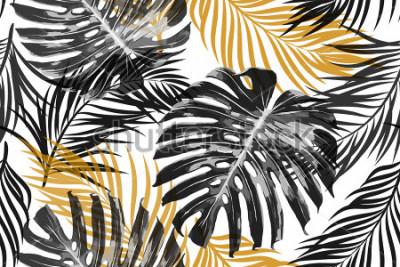 Fotomural Folhas de palmeira tropical, folhas da selva. Belo vetor sem costura elegante chique abstrato tropical floral de fundo