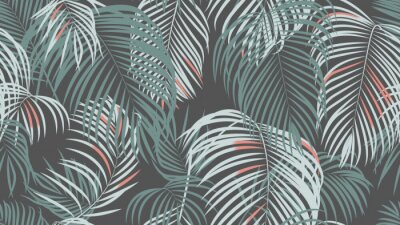Fotomural Foliage seamless pattern, simple palm leaves on dark grey