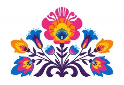 Fotomural Folk polonês flores inspiradas