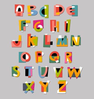 Fotomural Font alfabeto. Papel estilo cut-out