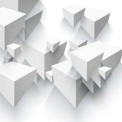 Fotomural Forma geométrica abstrata do vetor dos cubos cinzentos.