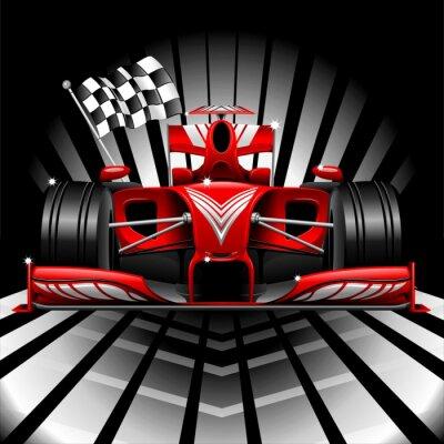 Fotomural Formula 1 Race Car e bandeira do verificador