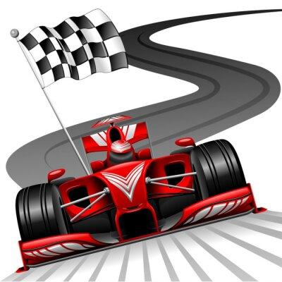 Fotomural Fórmula 1 Red Car no autódromo