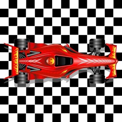 Fotomural Fórmula 1 Red Race Car em fundo Checkered