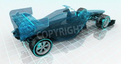 Fotomural Fórmula, carro, tecnologia, wireframe, esboço, parte superior, parte traseira, vista, motorsport, produto, fundo, projeto,