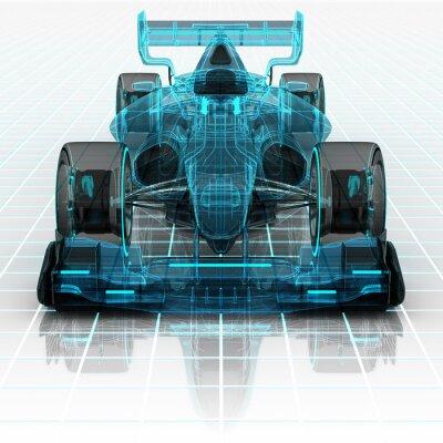 Fotomural Fórmula tecnologia automóvel esboço wireframe frontview