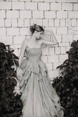 Fotomural Fotografia preto e branco da forma da menina bonita no vestido.