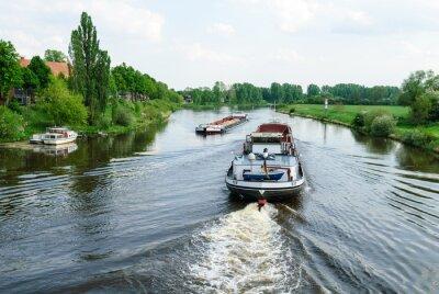 Fotomural Frachtschiffe auf der Weser bei Nienburg