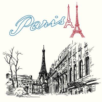 Fotomural França, Paris - Torre Eiffel - conjunto desenhada à mão