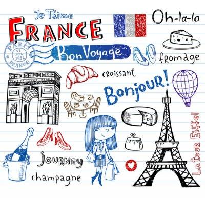 Fotomural France symbols as funky doodles