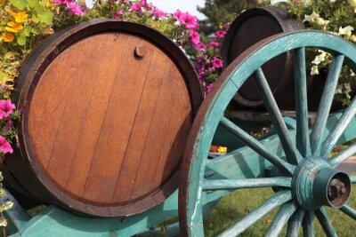 Fotomural Francês, vinho, vila, vinho, barris, carreta.