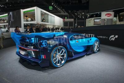 Fotomural FRANKFURT, ALEMANHA - 16 DE SETEMBRO DE 2015: Salão Internacional de Frankfurt (IAA) 2015. Bugatti Vision Gran Turismo - estréia mundial.