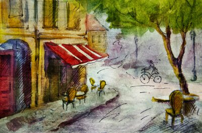 Fotomural French outdoor european cafe painting, graphic drawing in color
